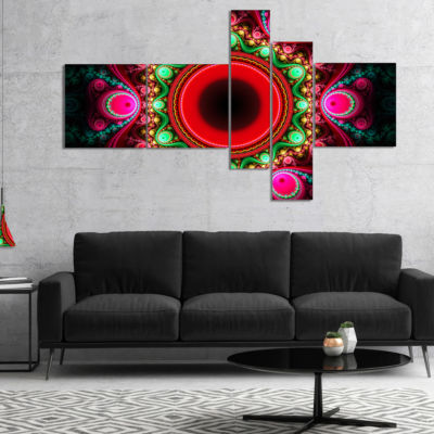 Designart Pink Wavy Curves And Circles MultipanelAbstract Canvas Art Print - 5 Panels