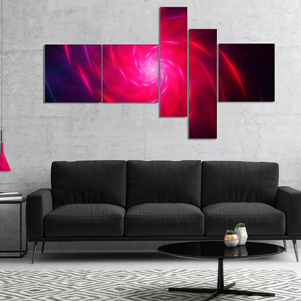 Designart Pink Whirlpool Fractal Spirals Multipanel Abstract Art On Canvas - 4 Panels