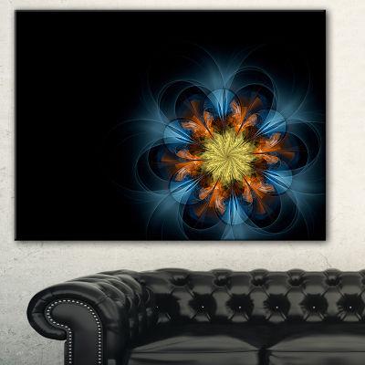 Designart Symmetrical Blue Orange Fractal FlowerAbstract Print On Canvas - 3 Panels