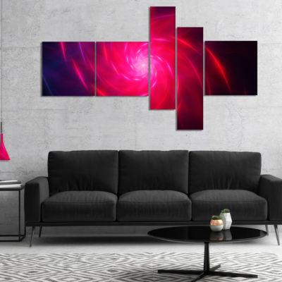 Designart Pink Whirlpool Fractal Spirals Multipanel Abstract Art On Canvas - 5 Panels