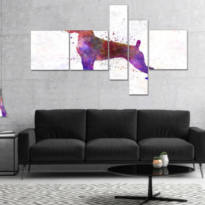 Designart Boxer In Watercolor Multipanel Animal Art On Canvas - 5 Panels