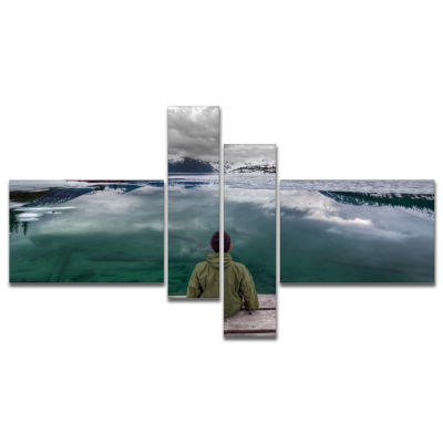 Designart Boy Looking At Clear Mountain Lake Multipanel Landscape Canvas Art Print - 4 Panels