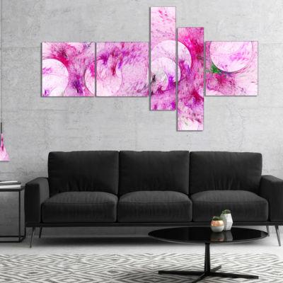 Designart Pink White Fractal Glass Texture Multipanel Abstract Canvas Art Print - 5 Panels
