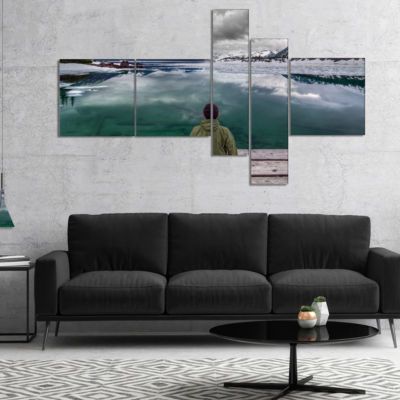 Designart Boy Looking At Clear Mountain Lake Multipanel Landscape Canvas Art Print - 5 Panels