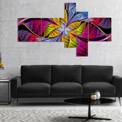Designart Pink Yellow Fractal Stained Glass Multipanel Abstract Canvas Art Print - 5 Panels
