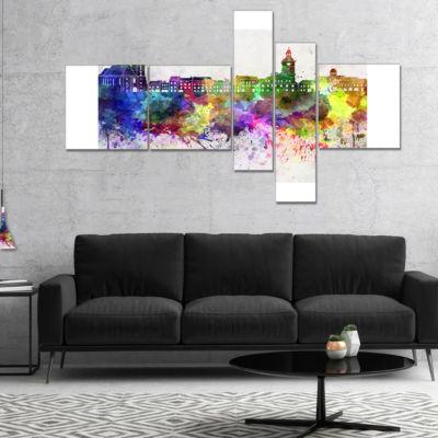 Designart Brasov Skyline Multipanel Cityscape Canvas Artwork Print - 5 Panels