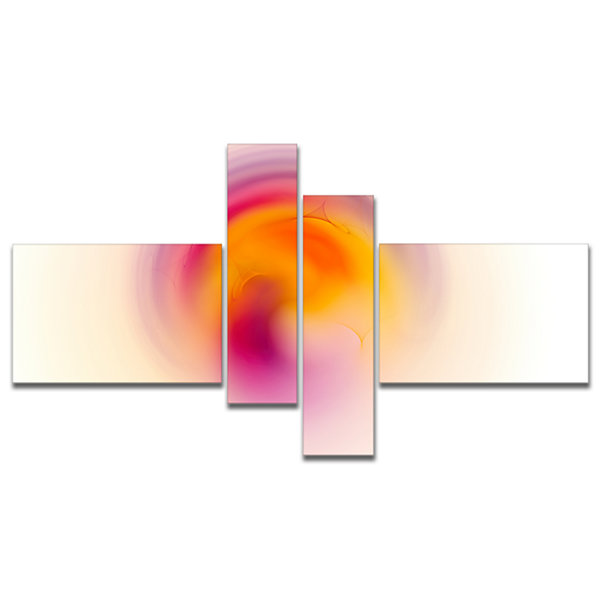 Designart Pink Yellow Luminous Misty Sphere Multipanel Abstract Canvas Art Print - 4 Panels