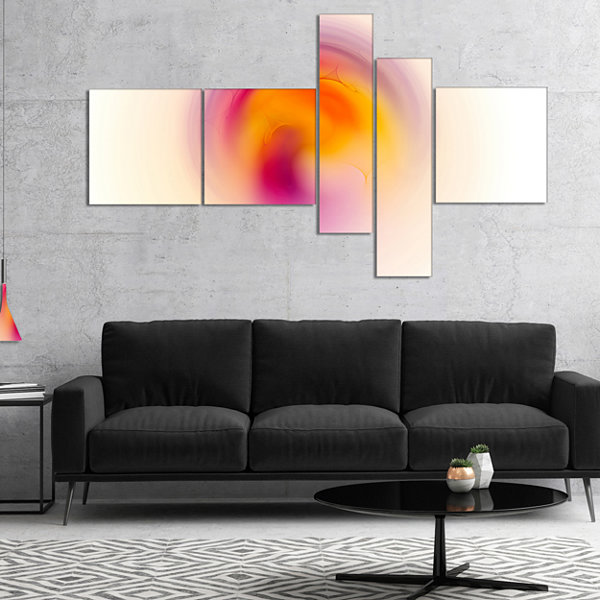 Designart Pink Yellow Luminous Misty Sphere Multipanel Abstract Canvas Art Print - 5 Panels