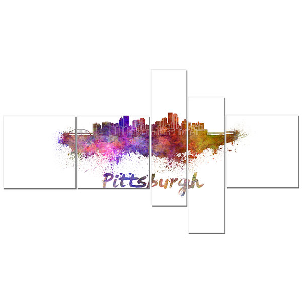 Designart Pittsburgh Skyline Multipanel CityscapeCanvas Artwork Print - 5 Panels