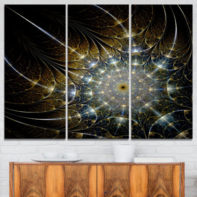 Designart Symmetrical Brown Fractal Flower Abstract Print On Canvas - 3 Panels