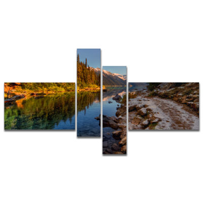 Designart Placid Lake Between Mountains MultipanelLandscape Canvas Art Print - 4 Panels