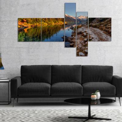 Designart Placid Lake Between Mountains MultipanelLandscape Canvas Art Print - 5 Panels