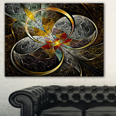 Designart Symmetrical Brown Fractal Flowers Abstract Print On Canvas