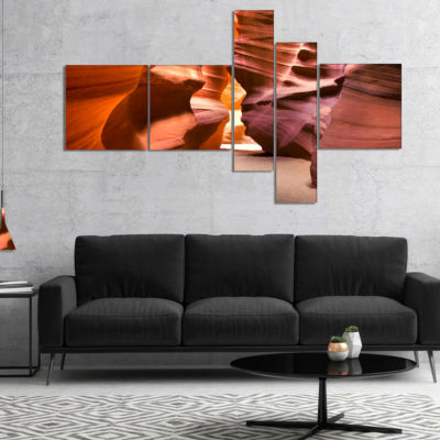 Designart Bright Antelope Canyon Multipanel Landscape Photo Canvas Art Print - 5 Panels