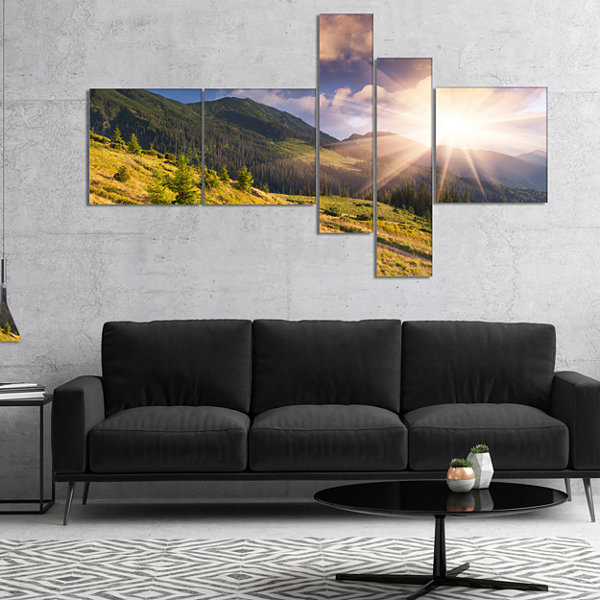 Designart Bright Autumn Midday In Mountains Multipanel Landscape Photography Canvas Print - 4 Panels