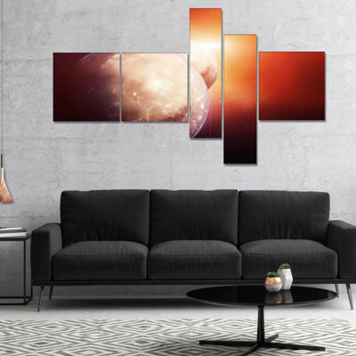 Designart Planets With Rising Star Multipanel Spacescape Canvas Art Print - 5 Panels