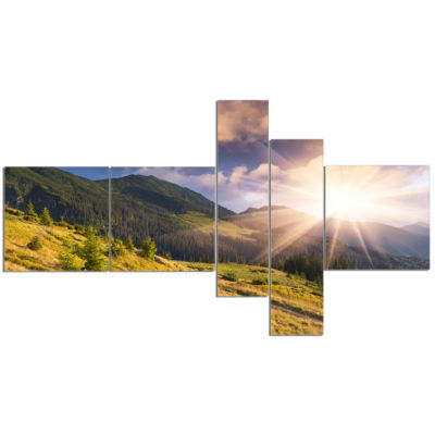 Design Art Bright Autumn Midday In Mountains Multipanel Landscape Photography Canvas Print - 5 Panels