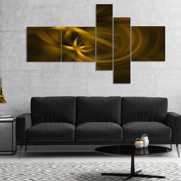 Designart Play Of Golden Stars Multipanel AbstractCanvas Art Print - 4 Panels