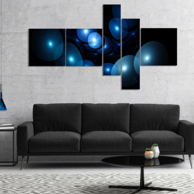Designart Bright Blue 3D Surreal Circles Multipanel Abstract Art On Canvas - 4 Panels