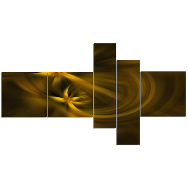 Designart Play Of Golden Stars Multipanel AbstractCanvas Art Print - 5 Panels