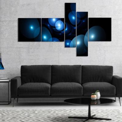Designart Bright Blue 3D Surreal Circles Multipanel Abstract Art On Canvas - 5 Panels