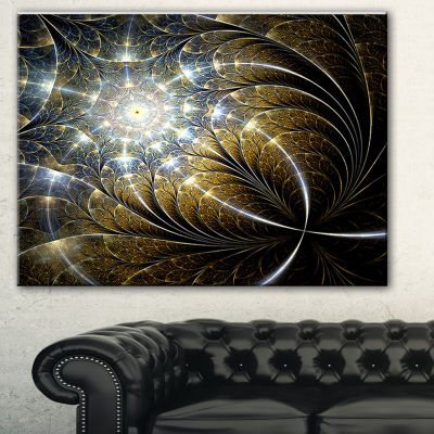 Designart Symmetrical Dark Golden Fractal FlowerAbstract Canvas Print