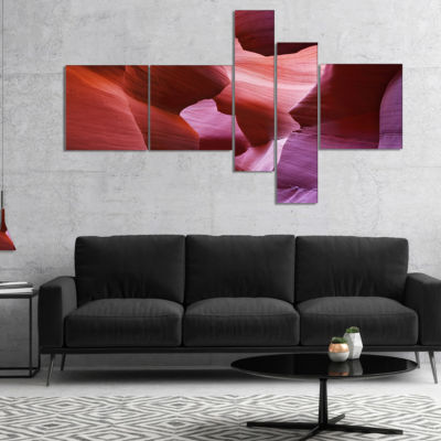 Designart Play Of Light In Antelope Canyon Multipanel Landscape Photography Canvas Print - 5 Panels
