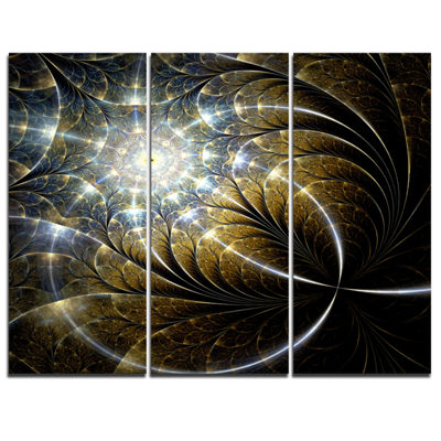 Designart Symmetrical Dark Golden Fractal FlowerAbstract Canvas Print - 3 Panels
