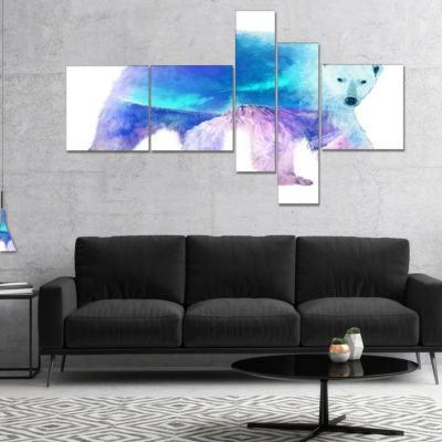 Designart Polar Bear Double Exposure IllustrationMultipanel Large Animal Canvas Art Print - 5 Panels