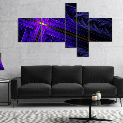 Designart Bright Blue Fractal Cross Design Multipanel Abstract Canvas Art Print - 5 Panels
