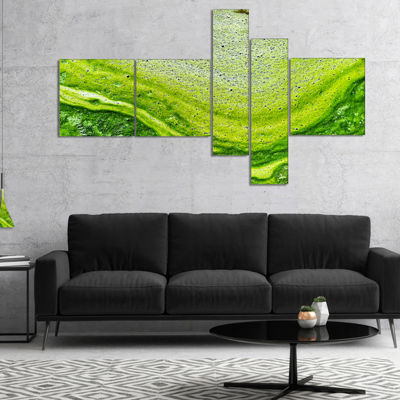 Designart Polluted Water With Algae In Green Multipanel Abstract Canvas Artwork - 5 Panels