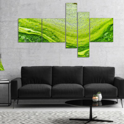 Designart Polluted Water With Algae In Green Multipanel Large Abstract Canvas Artwork - 4 Panels