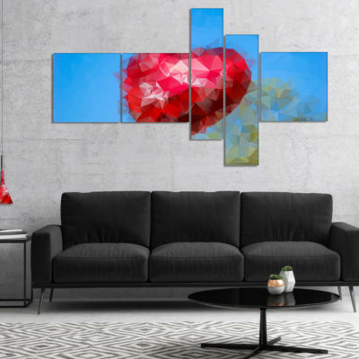Designart Polygonal Heart Against Blue Sky Multipanel Abstract Canvas Art Print - 4 Panels