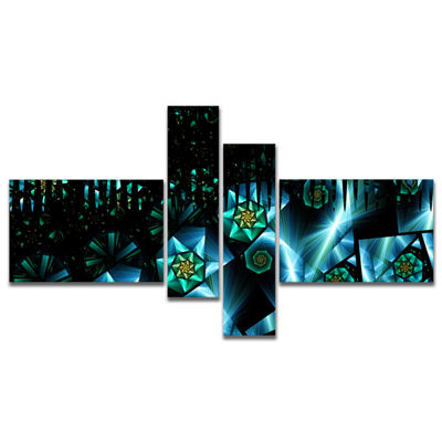 Designart Bright Blue Fractal Flowery Sky Multipanel Abstract Wall Art Canvas - 4 Panels