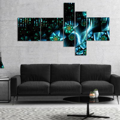 Designart Bright Blue Fractal Flowery Sky Multipanel Abstract Wall Art Canvas - 5 Panels