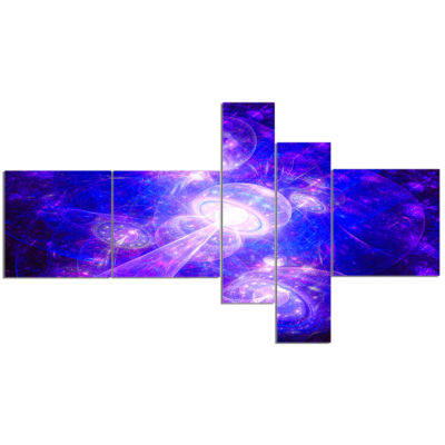 Designart Bright Blue Fractal Space Theme Multipanel Abstract Canvas Art Print - 5 Panels