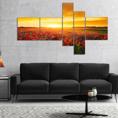 Designart Poppy Field Under Ablaze Sunset Multipanel Abstract Wall Art Canvas - 4 Panels