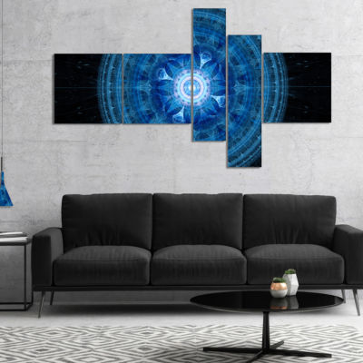 Designart Bright Blue Fractal Sphere Multipanel Abstract Wall Art Canvas - 5 Panels