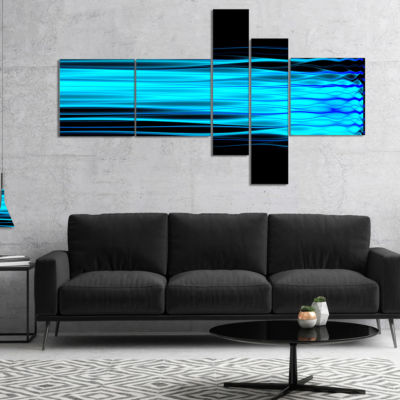 Designart Bright Blue Fractal Waves Multipanel Abstract Art On Canvas - 5 Panels