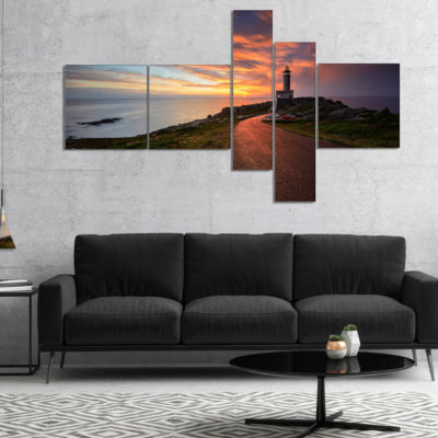 Designart Punta Nariga Lighthouse Spain MultipanelSeashore Photo Canvas Art Print - 4 Panels