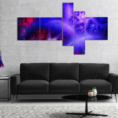 Designart Bright Blue Magic Stormy Sky MultipanelAbstract Canvas Art Print - 5 Panels