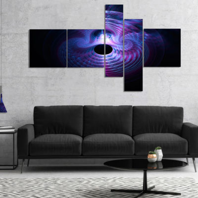 Designart Bright Blue Magical Lights Multipanel Abstract Art On Canvas - 5 Panels
