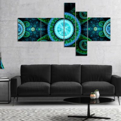 Designart Bright Blue Psychedelic Relaxing Art Multipanel Abstract Canvas Art Print - 5 Panels