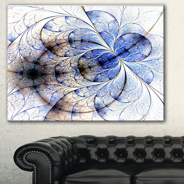 Designart Symmetrical Gold Blue Fractal Flower Floral Art Canvas Print - 3 Panels
