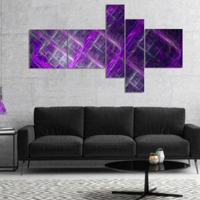 Designart Purple Abstract Metal Grill MultipanelAbstract Art On Canvas - 5 Panels