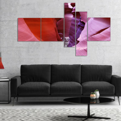 Designart Purple Antelope Canyon View MultipanelLandscape Photography Canvas Print - 4 Panels