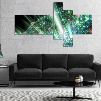 Designart Bright Blue Solar Bubbles Planet Multipanel Abstract Canvas Wall Art - 5 Panels