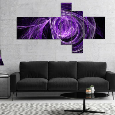 Designart Purple Ball Of Yarn Multipanel AbstractCanvas Art Print - 5 Panels
