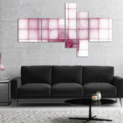 Designart Purple Bat On Rader Screen Multipanel Abstract Canvas Art Print - 5 Panels