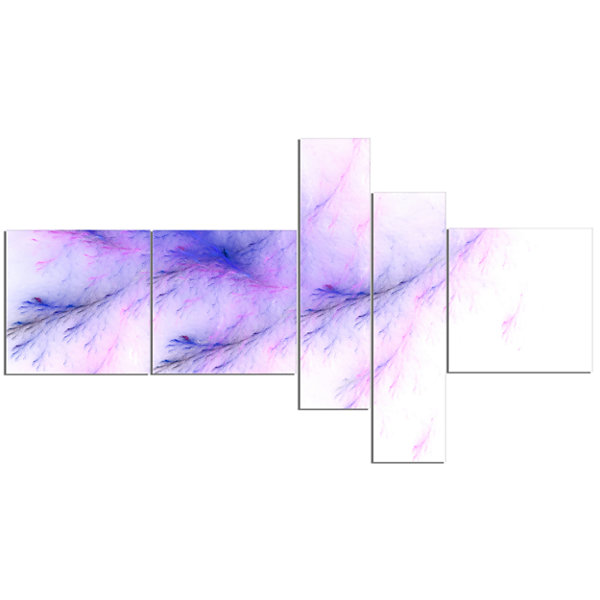 Designart Bright Blue Veins Of Marble MultipanelAbstract Wall Art Canvas - 5 Panels